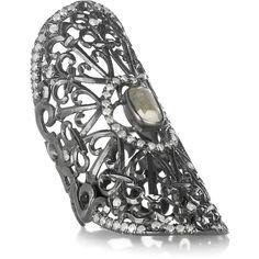 Loree Rodkin Baby Snake 18-karat rhodium white gold diamond armor ring