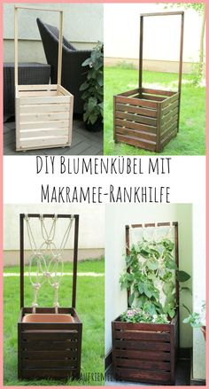 Balcony ideas: Build your own flower box with tendrils made of macrame. With suitable balcony plants Indoor Planters, Diy Planters, Indoor Garden, Amazing Gardens, Beautiful Gardens, Lawn Restoration, Garden Solutions, Hydrangea Care, Balcony Plants