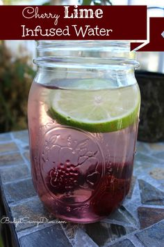 Cherry Lime Infused Water Recipe  What You Need ( Make 1 Drink)  2 Slices of Lime 4 Fresh Cherries – Pits taken Out Ice Water  What to Do  In a glass – combine water and ice ( about 3/4th of the glass) Add Cherries and Lime Stir and left sit for 5 minutes ( keep the ingredients in the drink while you enjoy it)  The drink tastes like a cherry limeade — but without all the artificial junk