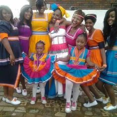 My friend Mpumi *in white dress* & her bridesmaids wearing her husbands Sepedi regalia Africa wedding season African Attire, African Wear, African Style, African Women, Pedi Traditional Attire, Sepedi Traditional Dresses, African Dresses For Kids, African Fashion Dresses, Flower Girls