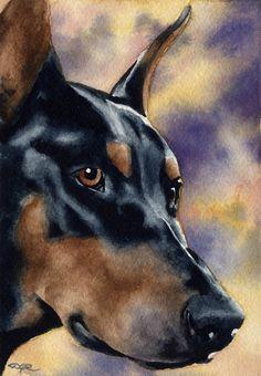 DOBERMAN PINSCHER Dog Art Print Signed by Artist DJ Rogers, via Etsy.