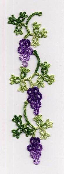 """""""Tatted Riego Grapevine Bookmark"""" ............ now if only I can understand how the bunch of grapes are done ((no pattern available on site))"""