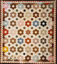 Quilt, Hexagon or Honeycomb pattern.  Maker: Rebecca Davis Date: 1846