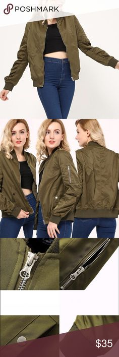 Ladies Bomber Jacket, Fashion trend for Fall  Ladies Bomber Jacket, Fashion trend for Fall  Long Sleeve, Full zipper, Material: Spandex. See 4th photo for size reference. See other listing for addlt pics. Available in Olive/Army Green and Black . See other listing for the Black jacket. Jackets & Coats Utility Jackets