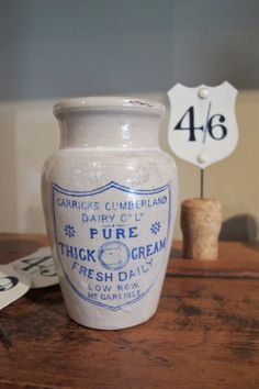 old cream pot... Cool look. I like the numbers in the back too