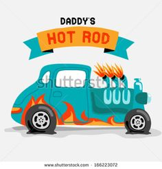 A hot rod car with flame paint. Vector illustration