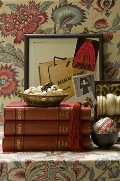 Luxuriously Leather Bound Books from Vast Collection of Vogue Magazines within Study/Library of Charlotte Moss