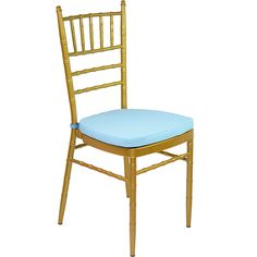 Gold Tiffany Chair with Blue Cushion