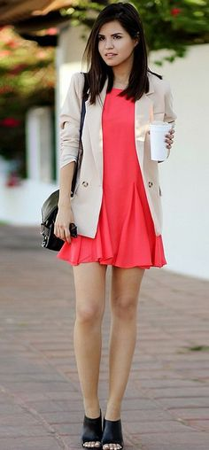 Coral Dress + Nude Blazer minus the shoes