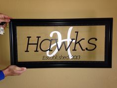 Personalized Last Name Sign. Framed Last Name Decor. DIY.  Cricut Project. Cricut Vinyl. Wedding Gift.