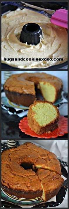 BEST EVER POUND CAKE-HANDS DOWN! INGREDIENTS: Cream Cheese Pound Cake 1 ounce) package cream cheese 1 cups butter 3 cups white sugar 6 eggs 3 cups all-purpose flour 1 teaspoon vanilla extract Directions: Preheat oven to 325 degrees F grease and flour … Just Desserts, Delicious Desserts, Dessert Recipes, Southern Desserts, Bunt Cakes, Cupcake Cakes, Cupcakes, Cream Cheese Pound Cake, Cream Cake