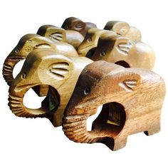 Teak Elephant Napkin Rings - Set of 8 ($48) ❤ liked on Polyvore featuring home, kitchen & dining, napkin rings and elephant napkin rings