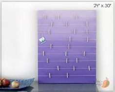 Bulletin Board , Memo Holder , Purple Ombre , Kids Room Decor , Teens Room Decor , Card Display , Office Bulletin Board, Girls room Wall Art