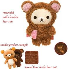 "~ 8.6"" tall Little Bear is wearing a dark chocolate bear suit with embroidered coffee bean logo and holding a chocolate bar.  The bear suit is removable, and it is lined with special Rilakkuma chocolate liner."