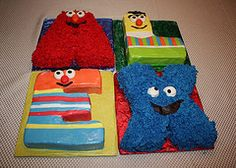 Name Cake...Each letter looks like a Sesame Street character