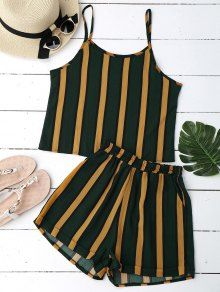Color Block Striped Cami Top With Shorts STRIPE : Two-Piece Outfits ONE SIZE | ZAFUL