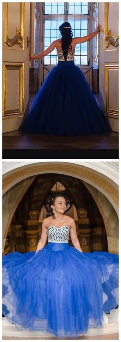 Royal Blue Ball Gown Sweetheart Crystals Long Party Gowns Fashionable Puffy Prom Dress Wear Vestidos,Women Party Gowns ,Custom Made Women Gowns . Blue Ball Gowns, Ball Gowns Prom, Pageant Gowns, Long Party Gowns, Formal Gowns, Formal Wear, Party Dresses, Puffy Prom Dresses, Evening Dresses
