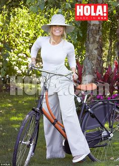Glowing: The actress looked gorgeous as she posed with a bicycle gifted to her by her beau...