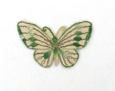 Beautiful Vintage Embroidered Butterfly applique from the 30s.    Approx 3.54 inches x 2.36 inches ( 9 cm x 6 cm )    This item is in a good vintage