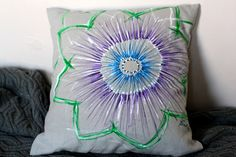 Linen cushion small with handpainted Passiflora by gemmaclarkhome, Hand Painted Fabric, Fabric Painting, Cushions, Throw Pillows, Unique Jewelry, Handmade Gifts, Vintage, Etsy, Products