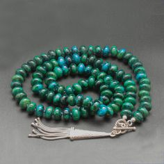 Blue Green Chrysocolla Long Necklace with Sterling Silver Tassel Pendant, Natural Chrysocolla Gemstone Jewelry