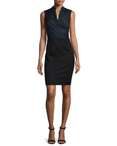 Laken Sleeveless Crossover Dress, Navy Yard by Elie Tahari at Neiman Marcus.