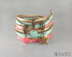 Bracelet manchette vert menthe rose corail et doré par MiLaDo, €22.00