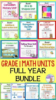 This full year math bundle for Grade 1 is based on the Ontario Curriculum.  It  contains 13 units: Counting, Canadian Money, Telling Time, Graphing & Probability, 2D&3D Shapes, Patterning, Linear Measurement, Expressions & Equality, Addition & Subtraction, Location & Movement, Number Relationships, & Fractions, Mass, Capacity, and Temperature. It covers every math expectation for Grade 1.