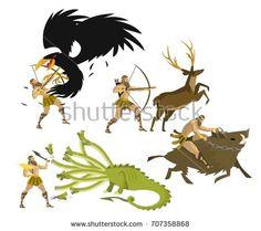 greek mythology hercules heracles performing labours