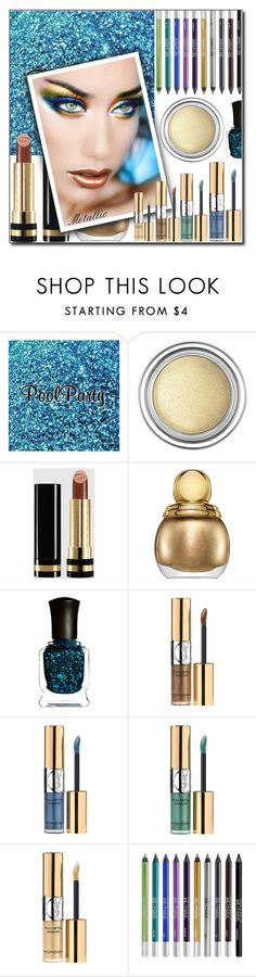 """""""Shine On: Metallic Makeup"""" by shoaleh-nia ❤ liked on Polyvore featuring beauty, Christian Dior, Gucci, Deborah Lippmann, Yves Saint Laurent and Urban Decay"""