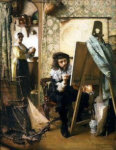 Artist in his Studio Eduard Charlemont (Austrian, Oil on canvas. Schiller & Bodo Fine Art, New York. Artist in his Studio is noteworthy as a virtuoso pastiche of Dutch Johannes Vermeer, Delft, Vermeer Paintings, Baroque Painting, Dutch Golden Age, Dutch Painters, Dutch Artists, Animal Paintings, Art Studios