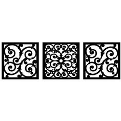 New View Scroll Metal Square Wall Decor 3-piece Set ($70) ❤ liked on Polyvore featuring home, home decor, black, black home decor, metal plaque and metal home decor