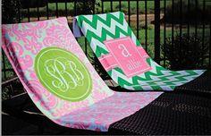 Stylish Personalized Monogram Beach Towels