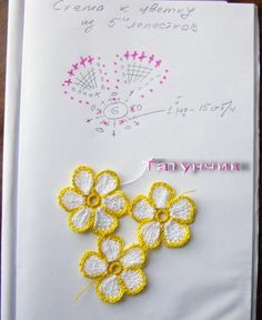 Aplique de Flores em Crochê - / Apply from Flowers under Crochet -:) Cute little flowers with crochet pattern Art Au Crochet, Crochet Diy, Thread Crochet, Irish Crochet, Crochet Stitches, Crochet Diagram, Crochet Chart, Crochet Motif, Crochet Doilies