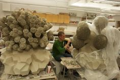 """Matt Wedel in his studio - 2011 Check out Matt's piece """"Figure, currently on view in our sky room! Ceramic Sculpture Figurative, Sculpture Clay, Organic Ceramics, China Art, Clay Design, Contemporary Ceramics, Pottery Studio, Environmental Art, Ceramic Clay"""