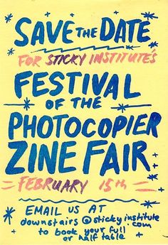 sticky-institute:  Hello. Sticky'sFestival Of The Photocopier 2015is happening on February 12th-15th, with the massive zine fair in Melbourne Town Hall happening on the Sunday. So that's:FOTP 2015 ZINE FAIRMELBOURNE TOWN HALLSUNDAY 15TH FEBRUARYfrom12-5pm. We are now taking applications for zine stalls.It is free to have a table / half-table but space is limited, so youmustapply in advance please. The sooner you apply the more likely there'll be space left, obviously. Just to make sure…