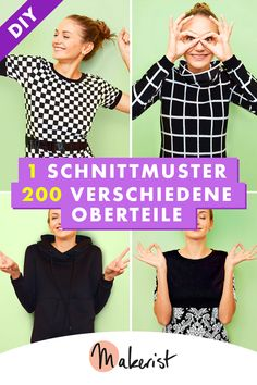 1 Schnittmuster – 200 verschiedene Oberteile With this pattern you can sew 200 different tops! Pullover, Hoodie, Shirt – sew your favorite outfits. Sewing pattern and sewing instructions via Makerist. Sewing Clothes, Diy Clothes, Shoulder Knots, Petal Sleeve, Diy Mode, Tee Dress, Batwing Sleeve, Polka Dot Print, Look Chic