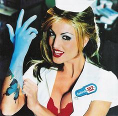 """Blink 182: Enema Of The State 1999 (c) MCA  Porn star Janine Lindemulder is the nurse famously depicted on the cover of Enema of the State. The cover shoot for the album was held March 12, 1999. She is also featured in the music videos for """"What's My Age Again?"""" and """"Man Overboard"""". The original version of the album (without the Parental Advisory sticker, as mentioned in the previous section) featured Lindemulder in a nurse cap displaying the American Red"""