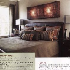 A masculine townhouse. Earth tones and rustic materials used. Master Bedroom was photographed for magazine article.