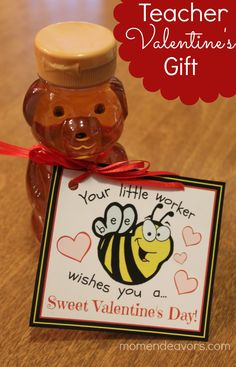 "Happy Valentine's Day! Big Brother's Kindergarten class is ""the bees"". So, we've gone with total bee-themed Valentine's this year. First, we made bee valentines. Bee Teacher Gifts, Teacher Appreciation Gifts, Teacher Stuff, Kinder Valentines, Valentine Day Crafts, Valentine Ideas, Valentine Gifts For Teachers, Homemade Valentines, Little Doll"