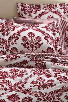 Flannel Cardinal Red Damask Duvet Cover