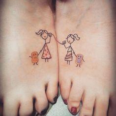 Best Friend Foot Tattoos by Martha Pranckuviene