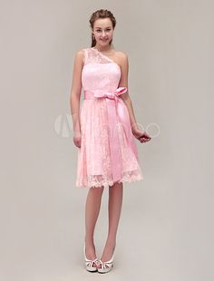 e2a2415909c7 Pink Bridesmaid Dress Lace One Shoulder Short Prom Dress Sleeveless ...