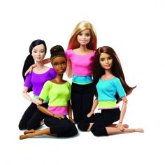 "2016 Made To Move (Articulated) Dolls - Barbie (Pink / Turquoise Yoga Top), Neko (Purple / Turquoise Yoga Top), Teresa (Turquoise / Lime Yoga Top) and Asha (Lime / Pink Yoga Top) - 22 ""Joints"" for Extra Flexibility - Mattel Barbie E Ken, Barbie Doll Set, Doll Clothes Barbie, Barbie Life, Barbie Made To Move, Moderne Outfits, Girl Hair Colors, Black Leggings Outfit, Doll Eyes"
