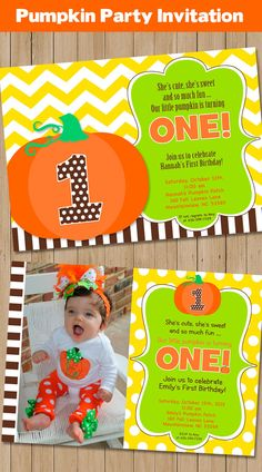 Little Pumpkin Party Invitation - Printable -Pumpkin Patch - Thanksgiving - Chevron Fall Party by Amanda's Parties TO GO