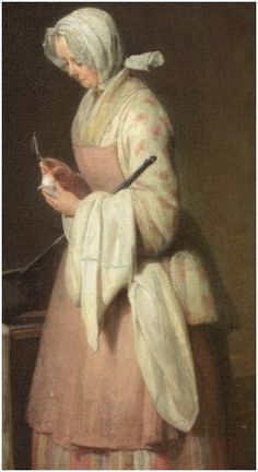The Attentive Nurse by Jean Siméon Chardin, 1747. Women -- Clothing & dress -- 1700-1799 -- France. 18th century, French. She is wearing a white bedgown with a pink design (flowers?), a striped petticoat (skirt), a pink pinner apron, and and a sheer white neckerchief. Her head may have a white ruffled cap covered with a white head kerchief. She appears to have white stockings and black mules with high heels. 18th Century Dress, 18th Century Costume, 18th Century Clothing, 18th Century Fashion, 17th Century, Short Gowns, Georgian Era, Black Mules, Pink Design