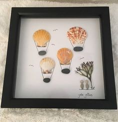 Beachcombing Art Picture 20x20 cms light grey frame All items found on UK beaches