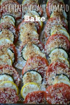 """Kind of a variant on Ratatouille. Such a wonderful and """"pretty"""" Clean Eating recipe! Try this Zucchini, Summer Squash, Tomato Bake, great accompaniment with any grilled chicken or fish. Side Recipes, Vegetable Recipes, Vegetarian Recipes, Cooking Recipes, Healthy Recipes, Vegetable Bake, Medifast Recipes, Grilling Recipes, Healthy Side Dishes"""