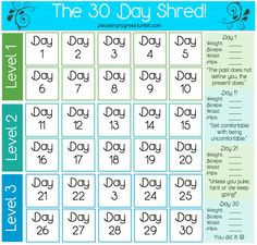 Jillian Micheals 30 Day Shred Calendar. Walmart has the 30 Day Shred Dvd for under $10 and it's a great workout!