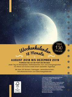 Mondkalender 2019: Mit 130 Stickern!: Amazon.de: Bücher Movie Posters, Author, Moon Calendar, Shapes Of Moon, Zodiac Signs, Holidays, Film Poster, Popcorn Posters, Billboard